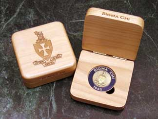 Sigma Chi laser engraved challenge coin presentation box