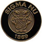 Obverse of Sigma Nu fraternity coin by Greek Challenge Coins