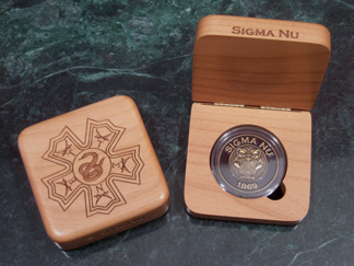 Sigma Nu laser engraved AirTite holder presentation box