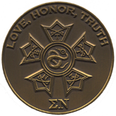 Reverse of Sigma Nu fraternity coin by Greek Challenge Coins