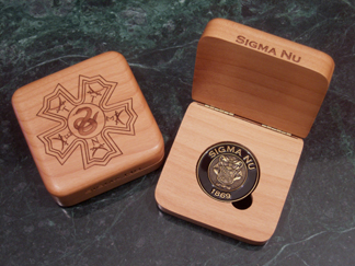 Sigma Nu laser engraved challenge coin only presentation box