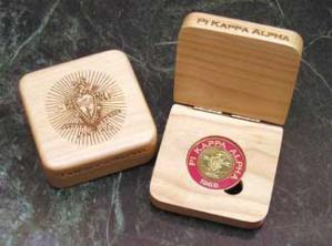 Pi Kappa Alpha laser engraved challenge coin presentation box